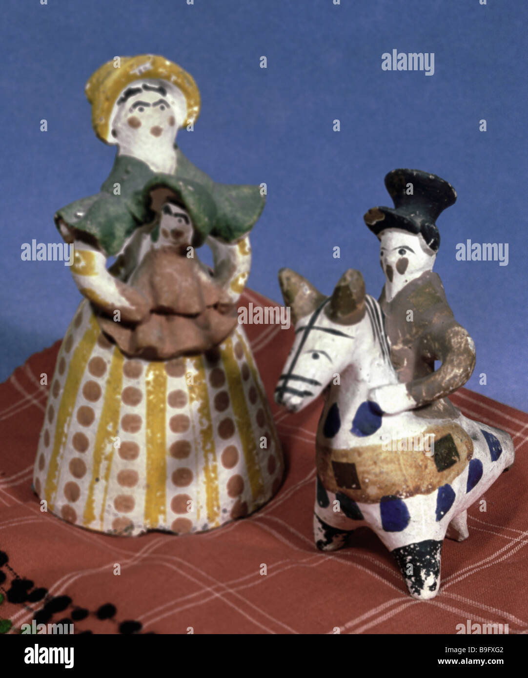 Painted clay figurines of Dymkovo - Stock Image