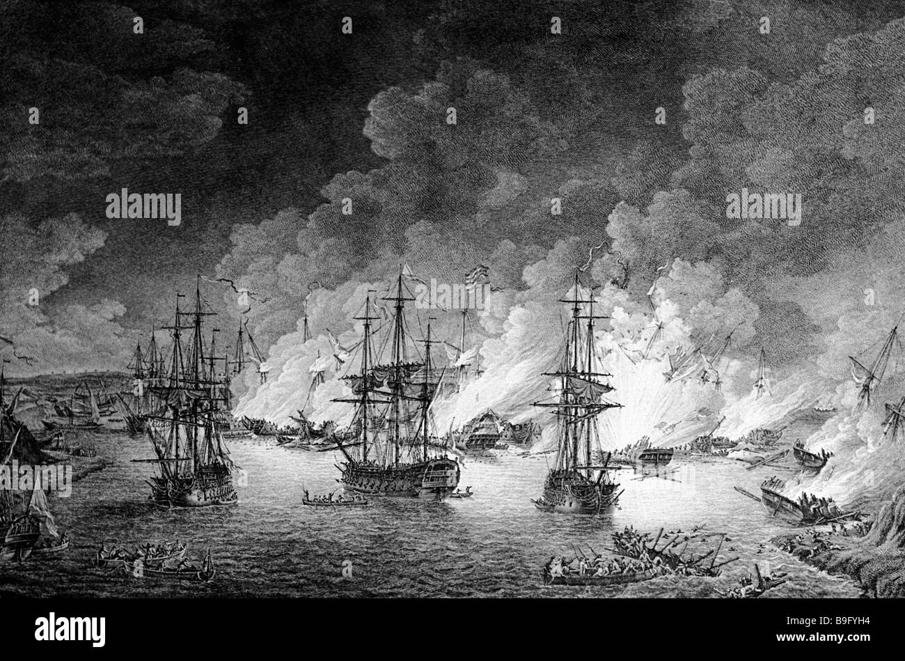 1768 1774 Russian Turkish War Engraving of the July 5 1770 naval battle in the Chios Strait Moscow State History - Stock Image