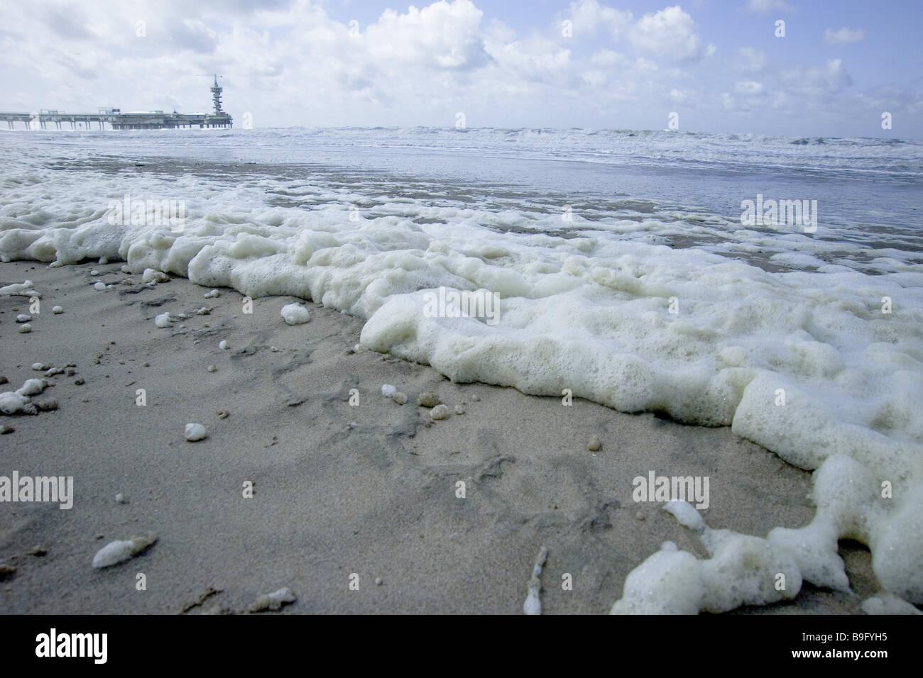 Netherlands Holland Scheveningen beach surf water foam symbol water pollution North lake North Sea*-coast North Sea*-beach lake Stock Photo