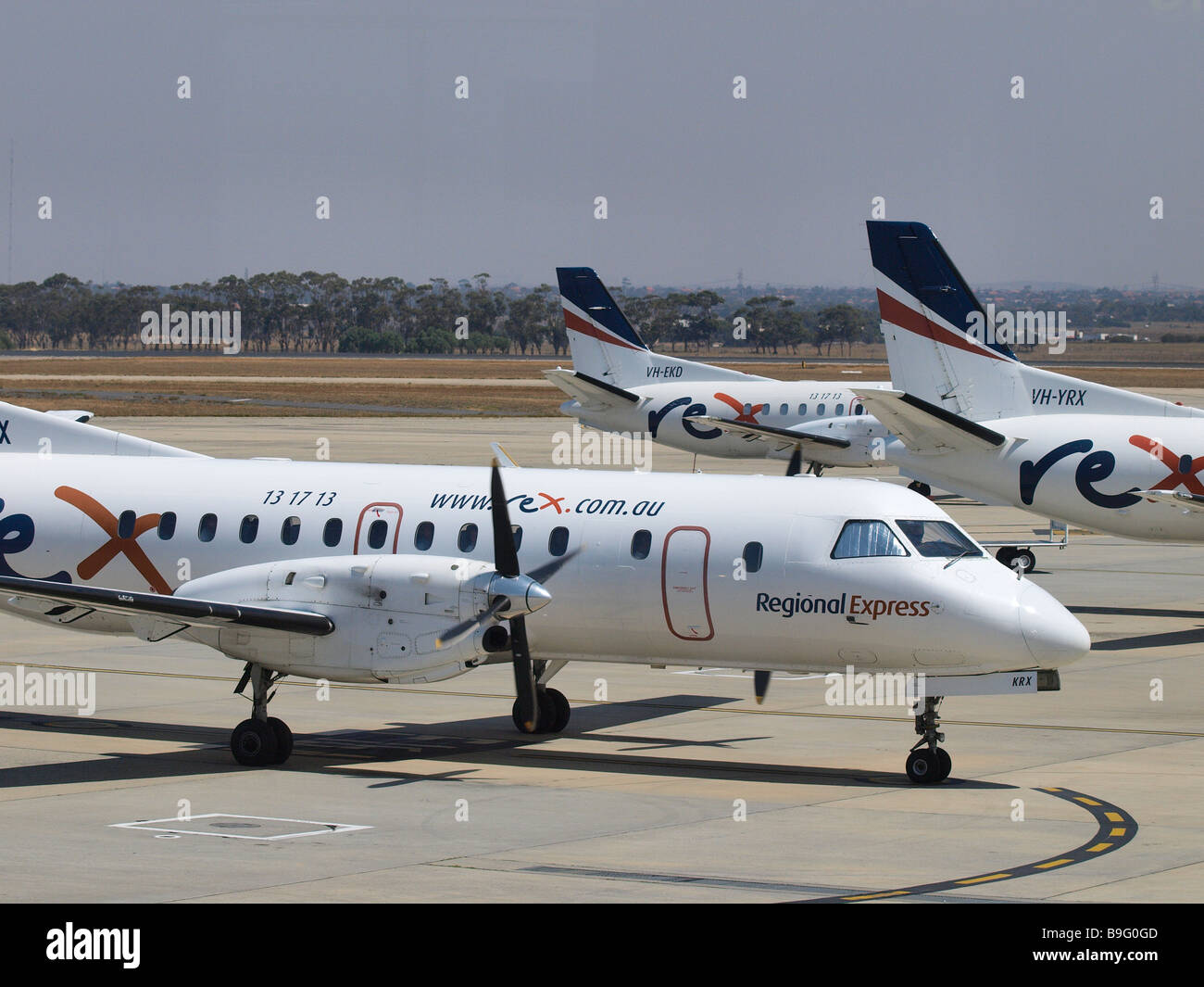 REGIONAL EXPRESS PLANES AT MELBOURNE AIRPORT, TULLAMARINE, VICTORIA - Stock Image