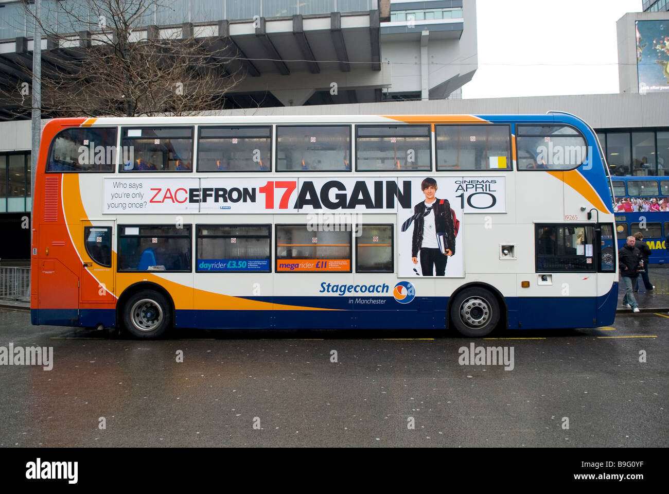 Stagecoach bus in Piccadilly Gardens Manchester city centre UK - Stock Image