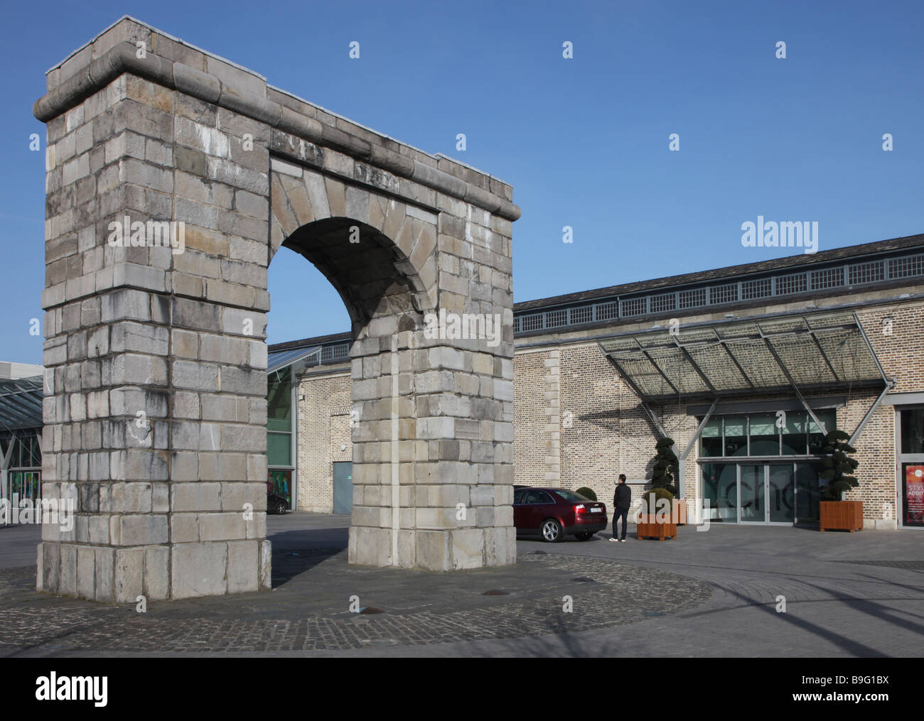 shopping centre and Georgian arch North Wall Docklands Dublin Ireland - Stock Image