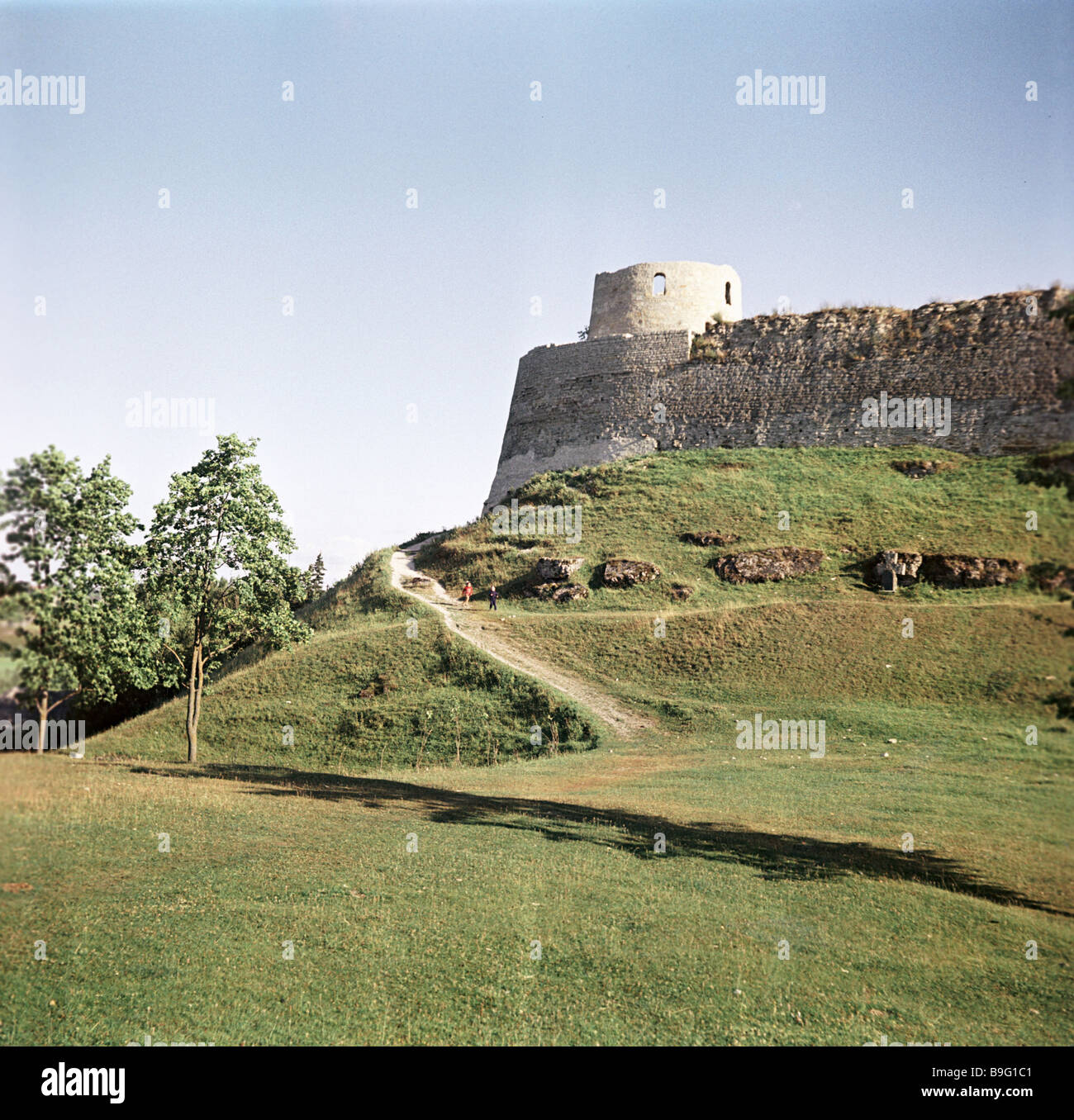 The 14th century Izborsk fortress - Stock Image