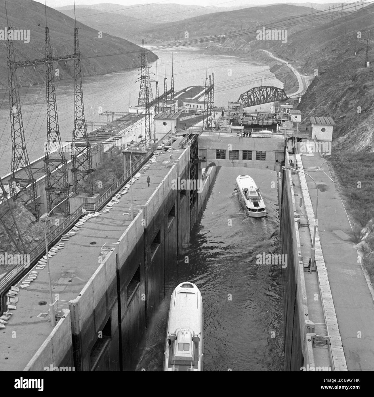 Dam lock on the Irtysh River Stock Photo