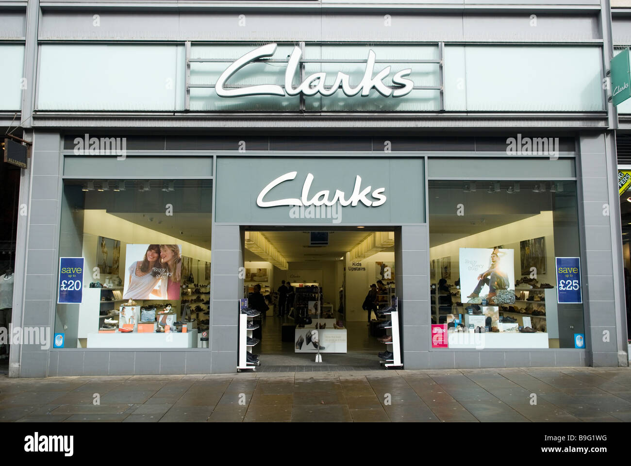 d0132329a Clarks Shoes store front on Market street Manchester city centre UK - Stock  Image