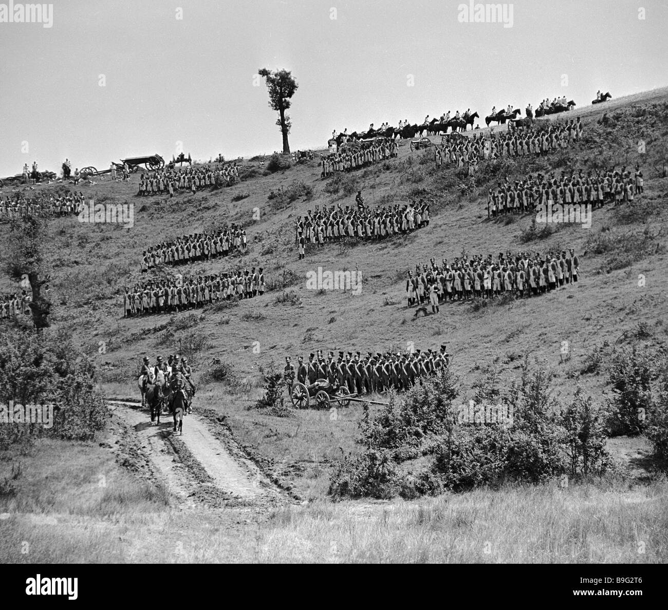 Shooting a battle scene of the feature film Waterloo - Stock Image