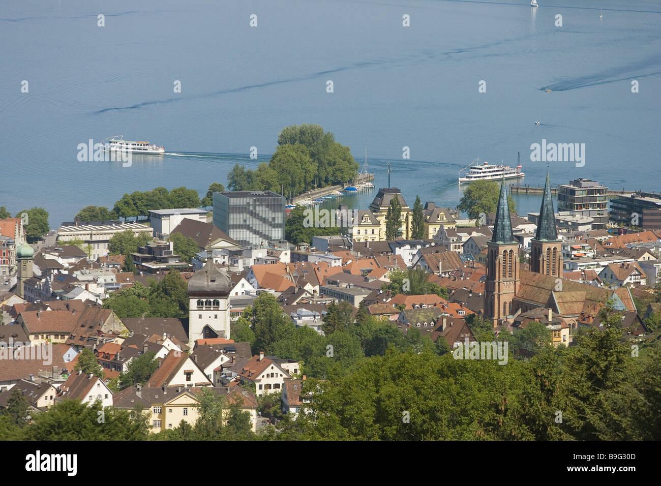 Austria Vorarlberg Bregenz City Overview Lake Constance Ships Stock