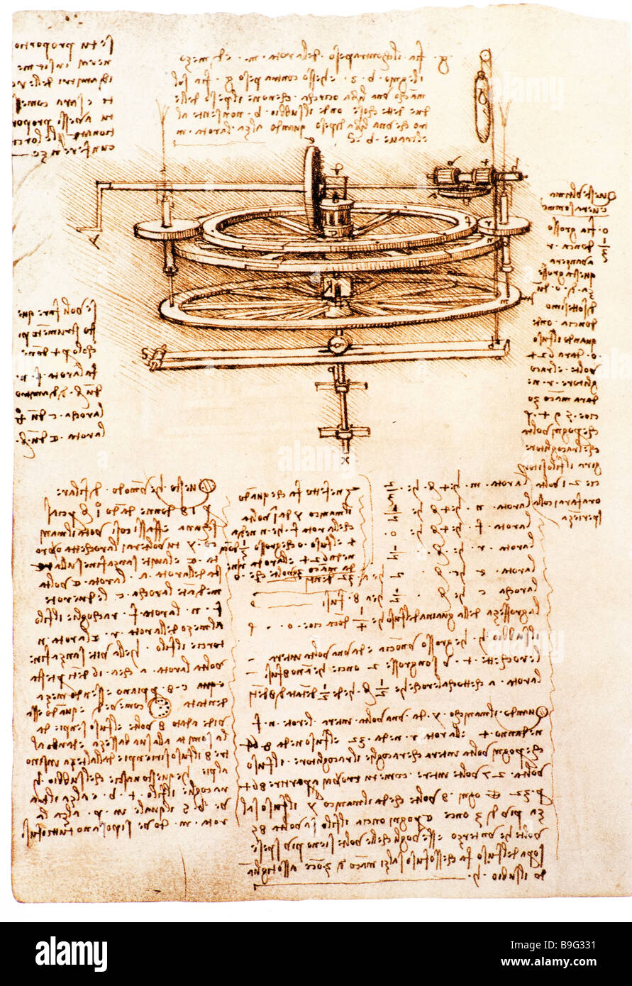 study of mechanics of a spinning wheel by Leonardo da Vinci  1493-1497 - Stock Image