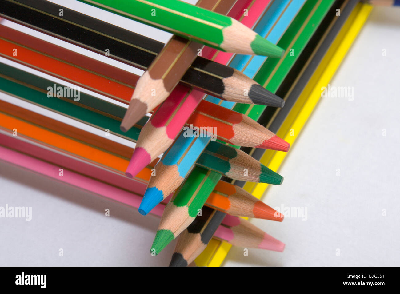 Color pencils sorted on each other. Stock Photo