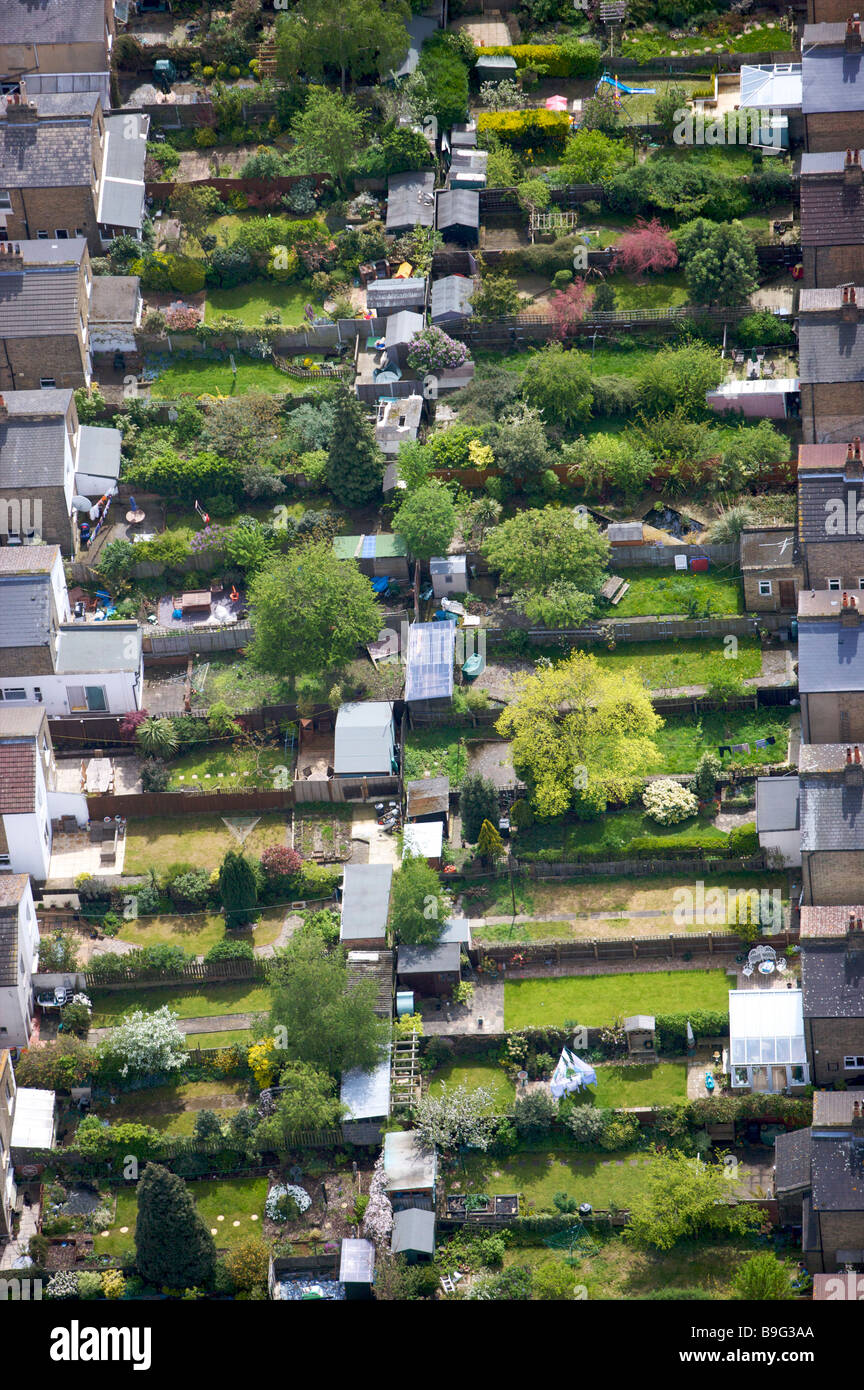 Aerial View Back To Back Terraced Houses Gardens Suburban Stock