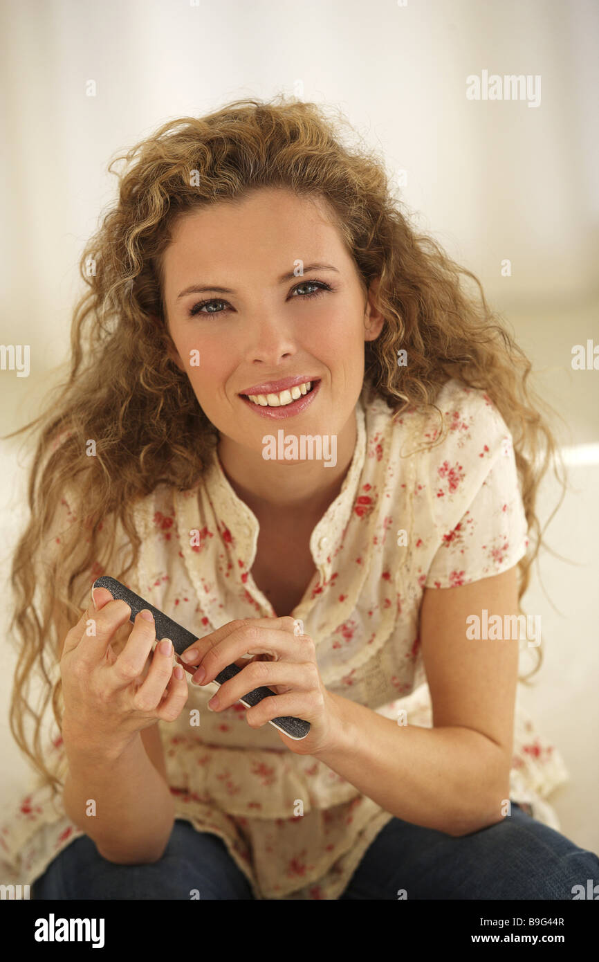 Woman young fingernails files smiling detail series people young ...