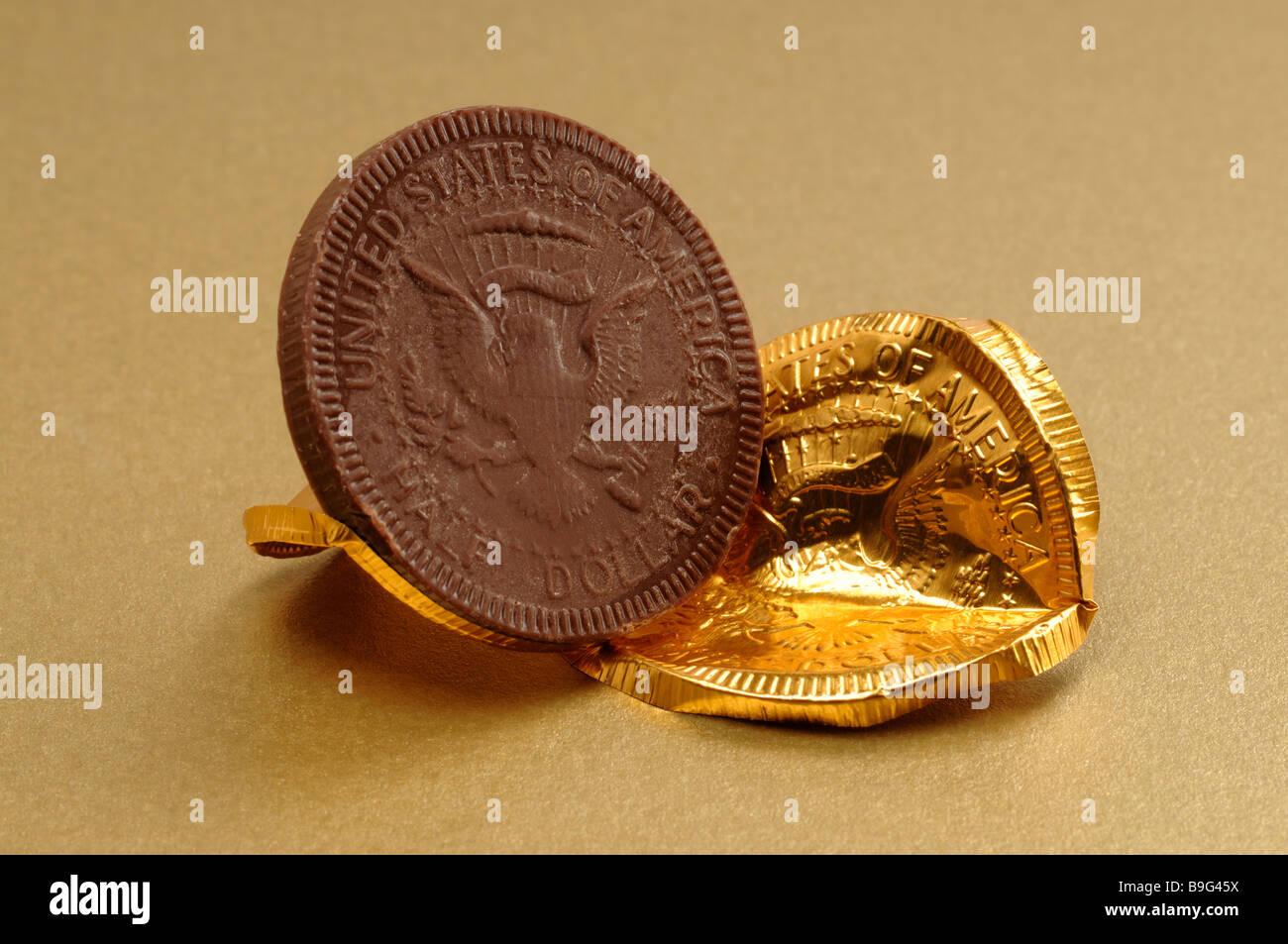 Chocolate United States Half Dollar coin - Stock Image