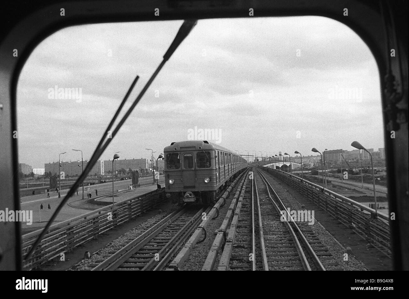This metro bridge is 800 meters long Photographed out of an engine driver s cabin Moscow 1969 - Stock Image