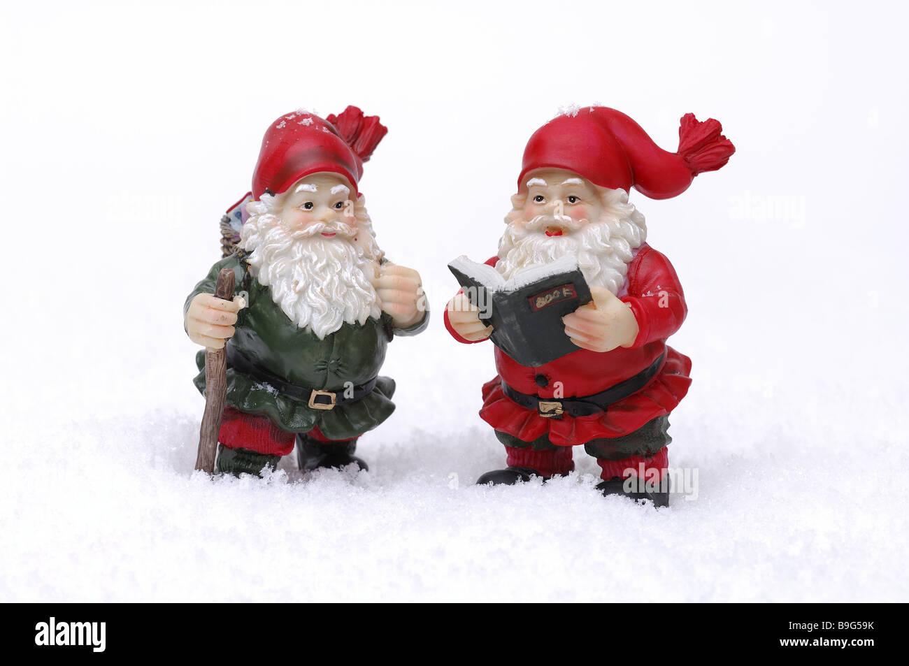 Artificial Snow Santa Claus Figures Two Christmas Decoration Decoration Objects Figures Santa Claus Decoration Christmas Kitsch