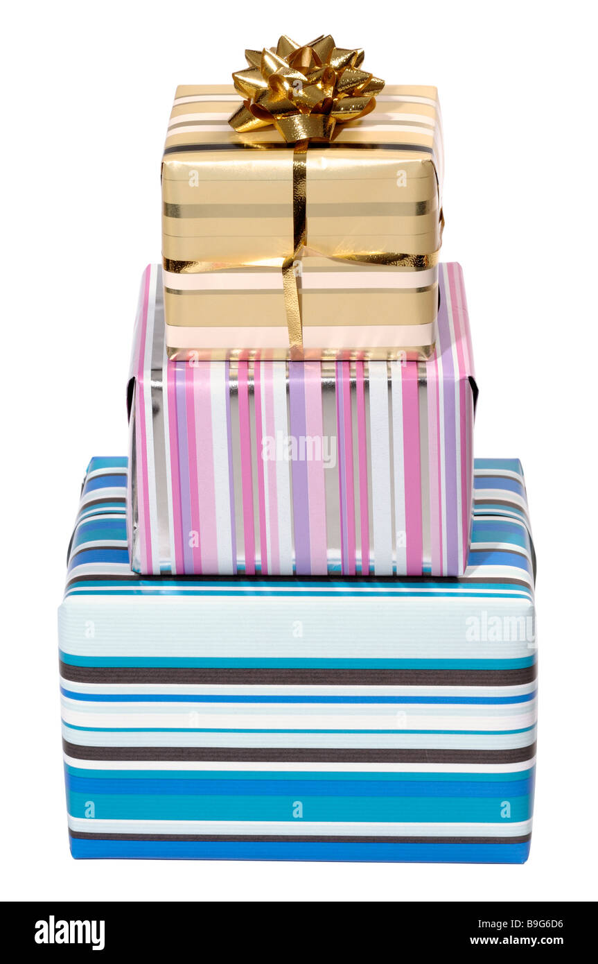 Three gift wrapped parcels - Stock Image