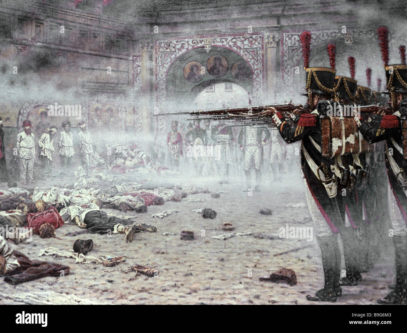 A reproduction of Vasily Vereshchagin s painting French Soldiers Executing Muscovites From the collection of the - Stock Image