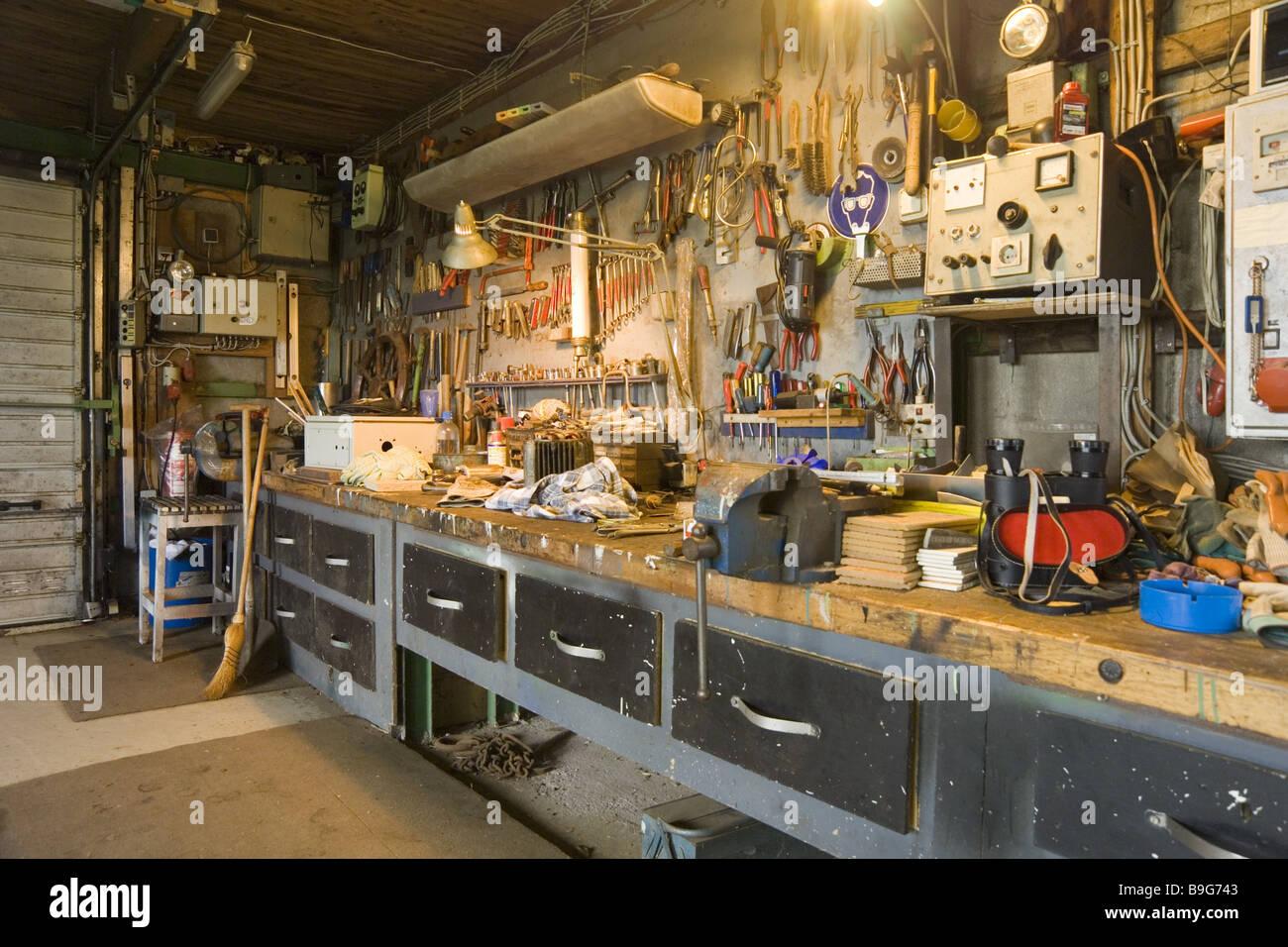 interior garage hobby workshop stock photo 23099107 alamy. Black Bedroom Furniture Sets. Home Design Ideas