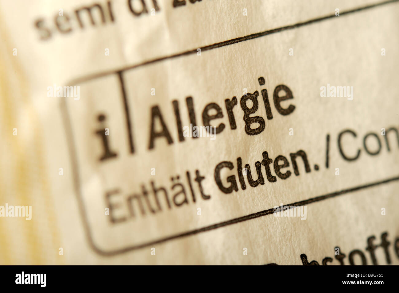 allergy. refernece to contents of allergic potential on a package of food: gluten and sesame. - Stock Image