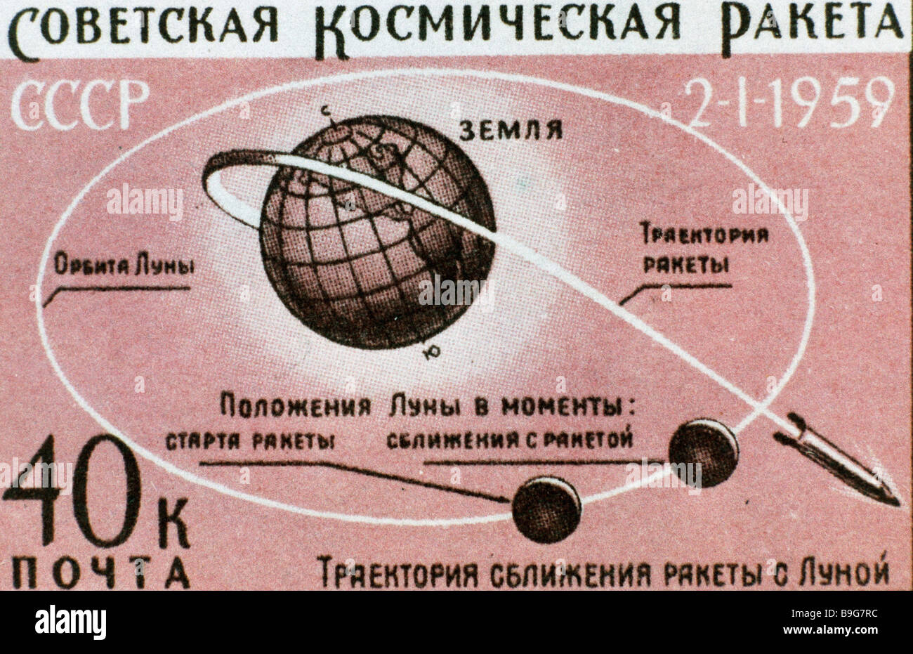 A postal stamp dedicated to the Luna 1 automated interplanetary station launch January 2 1959 - Stock Image