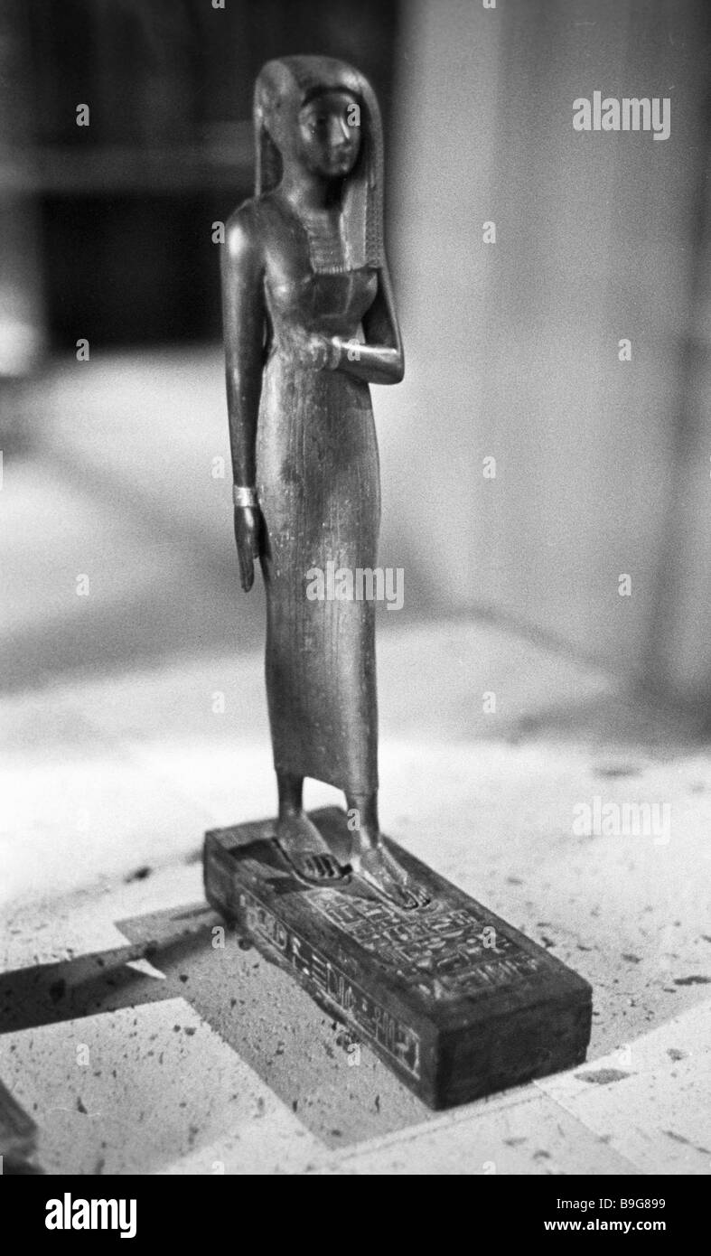 A figurine of Egyptian priestess Ramaya from the collection of the Pushkin Museum of Fine Arts - Stock Image