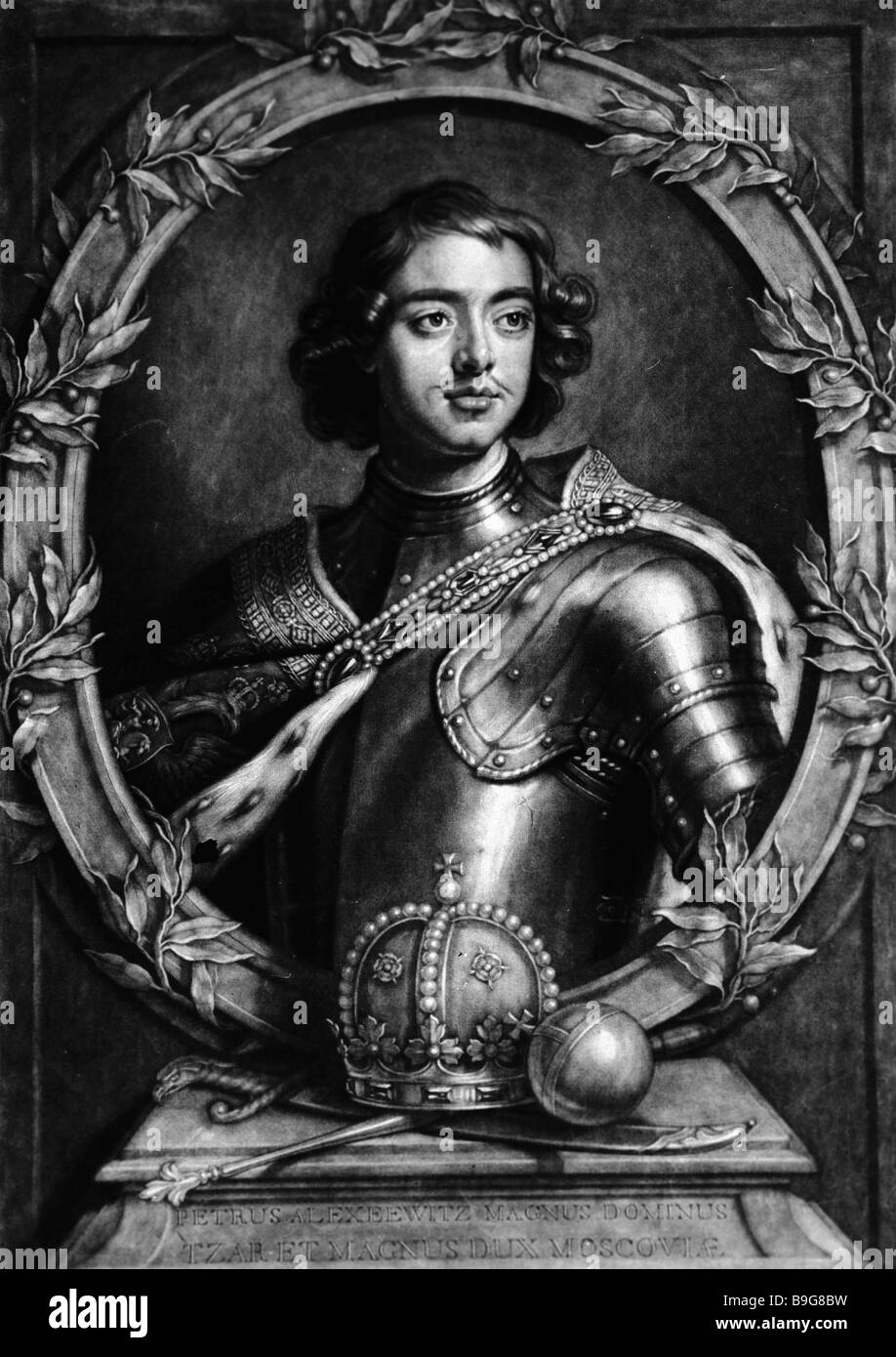 A reproduction of J Smith s engraving Peter the Great After Marrying Evdokiya Fedorovna from the portrait painted - Stock Image