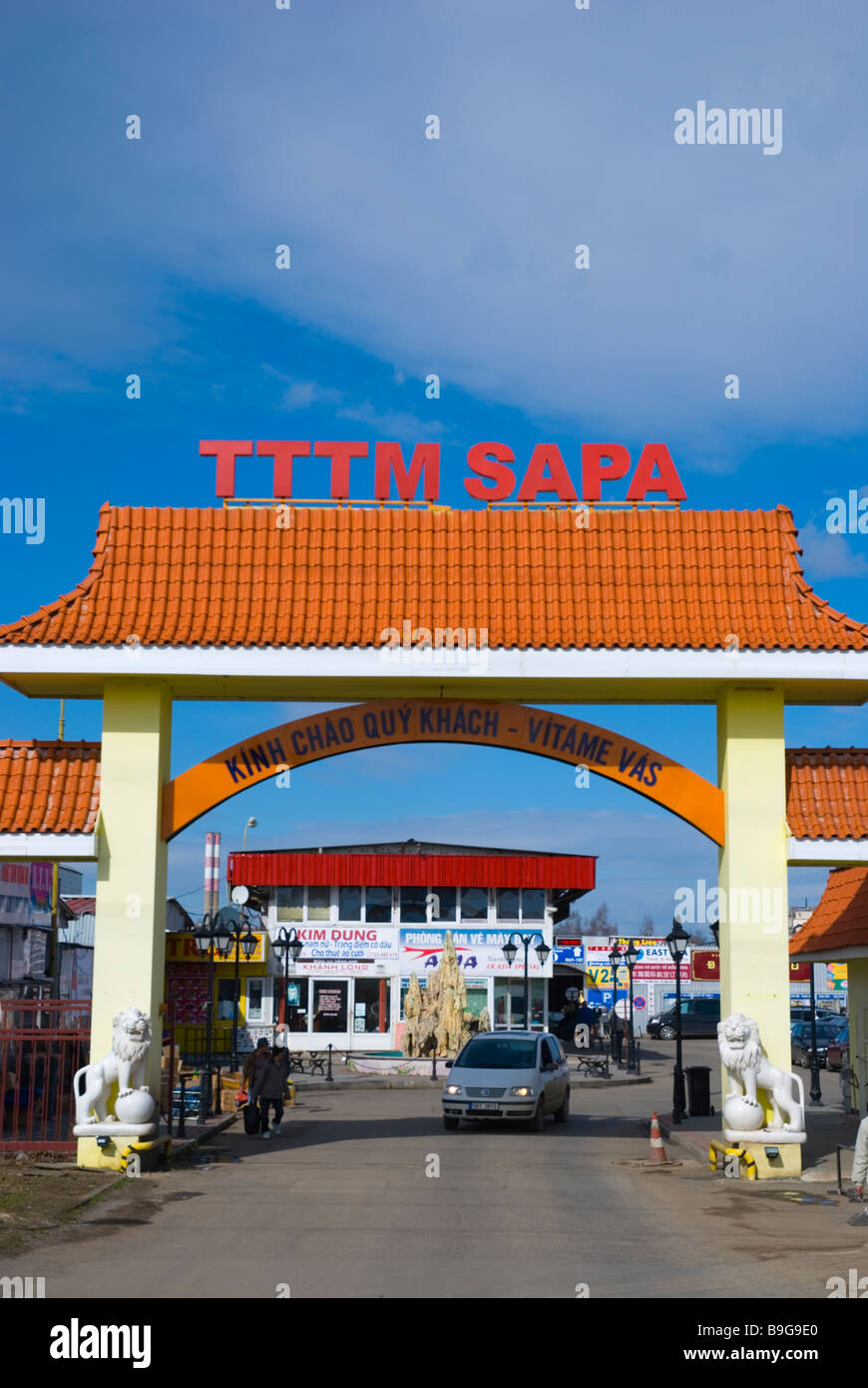 Gates of SAPA the Asia Trade Centre in Libus district in outskirts of Prague Czech Republic Europe - Stock Image