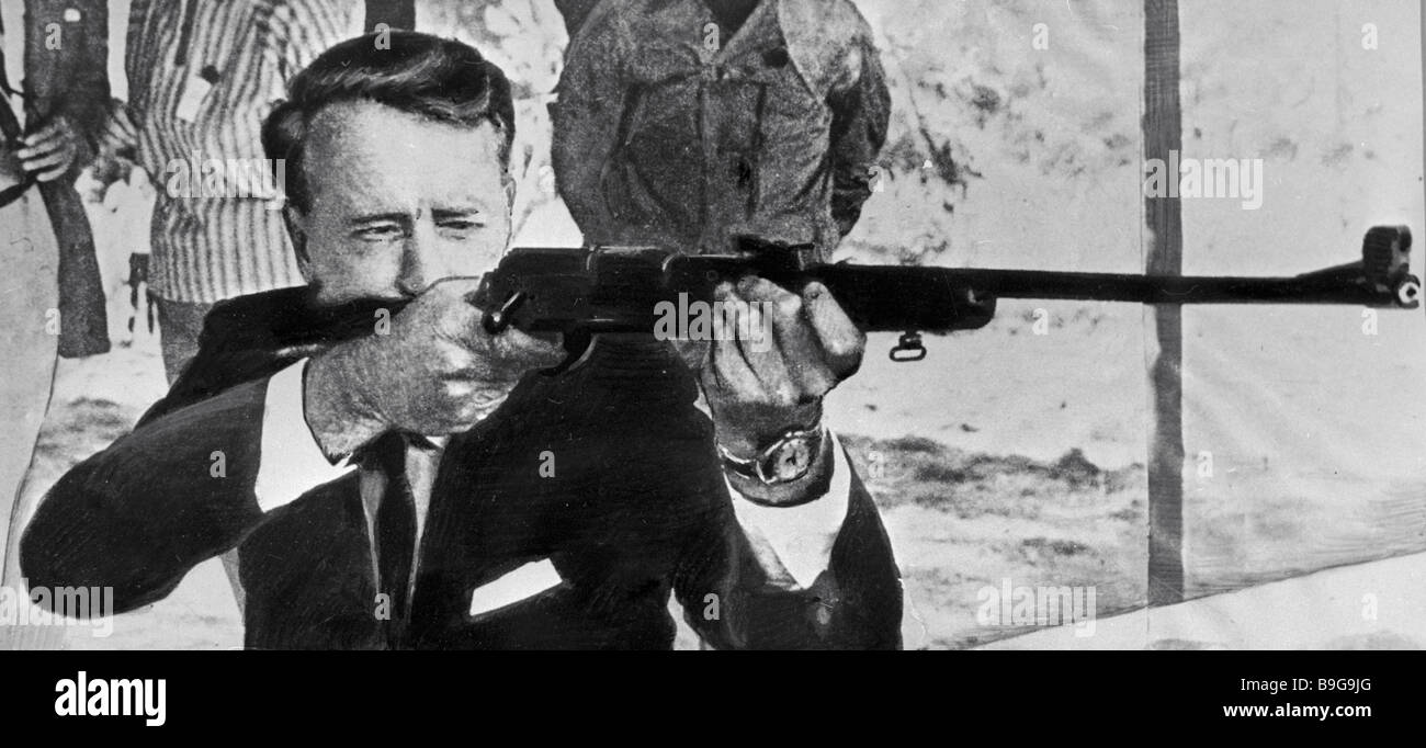 Ian Smith political leader of South Rhodesia practices target shooting - Stock Image