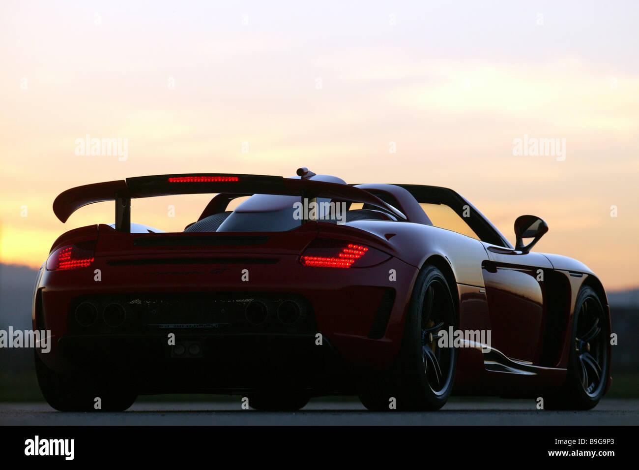 Porsche Gemballa Mirage Red Backview Sunset Series Vehicle Car Sport