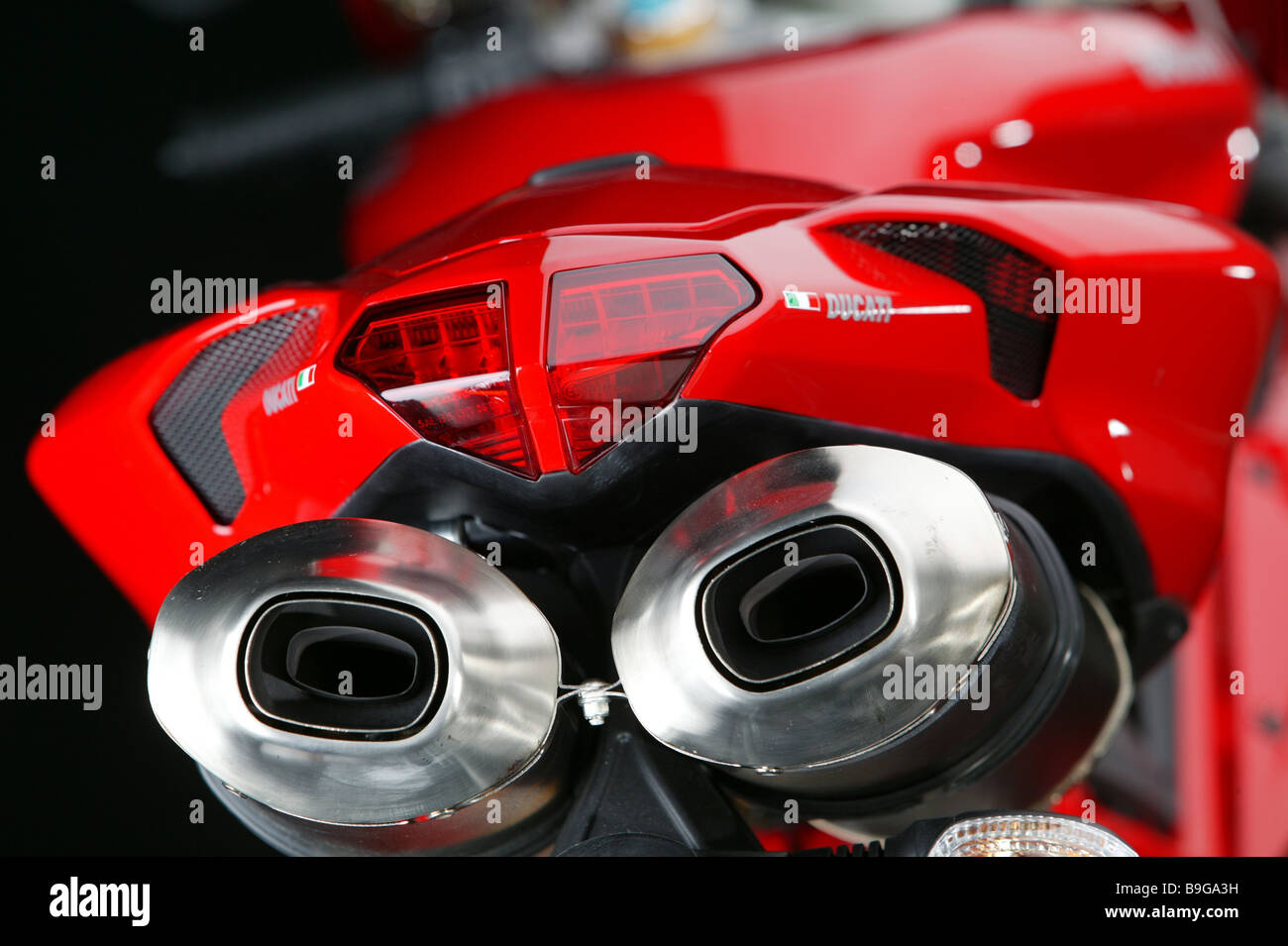 Motorcycle Ducati Red Backview Detail Bicycle Motorcycle Stock Photo
