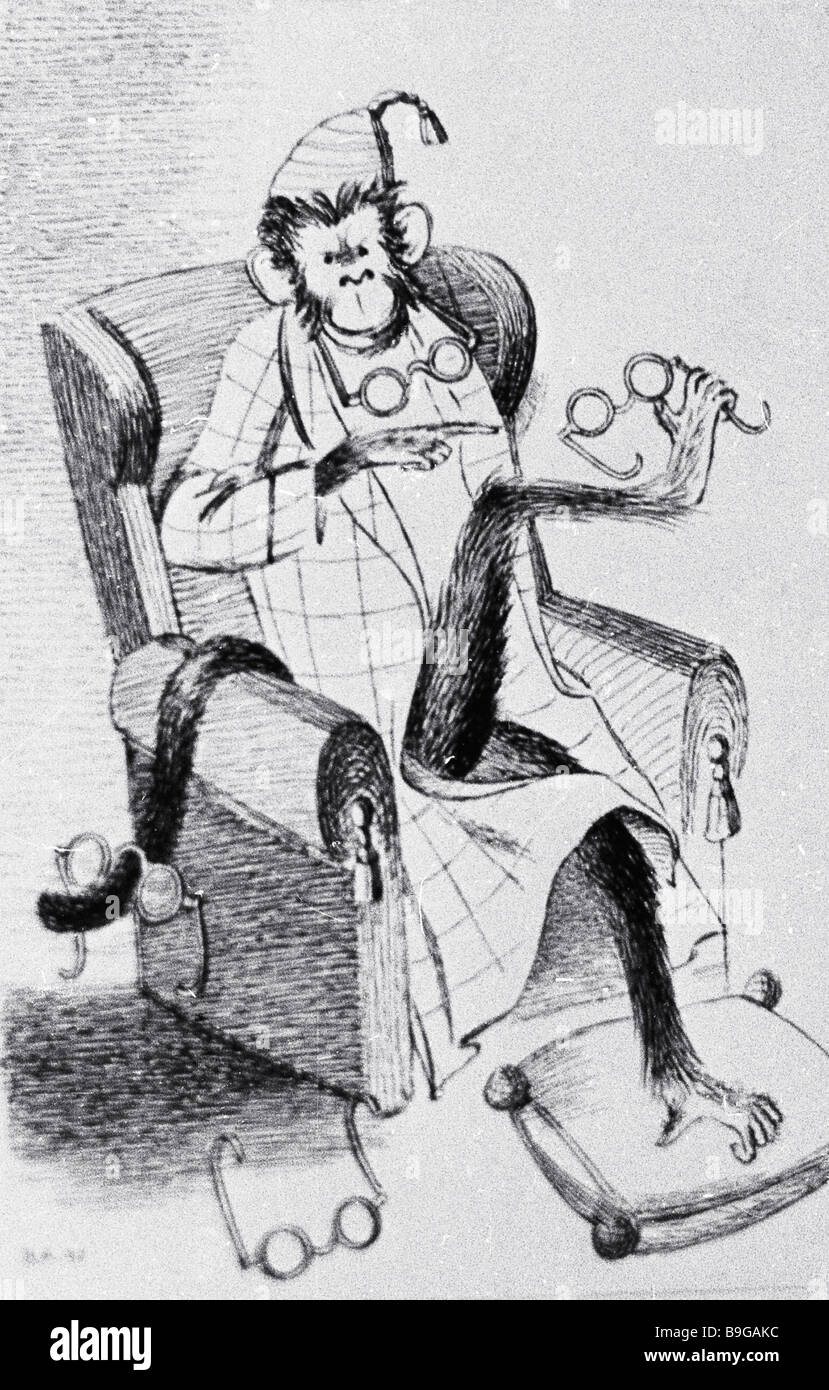 A drawing by Nathan Altman to Krylov s fable The Monkey and the Glasses reproduction - Stock Image