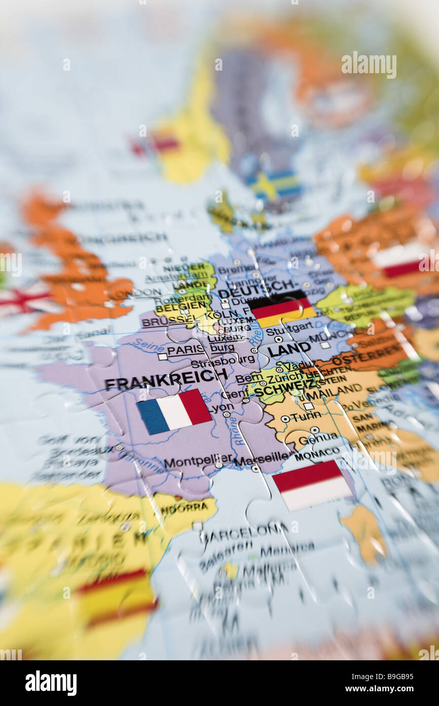 Puzzle map Europe detail Stock Image
