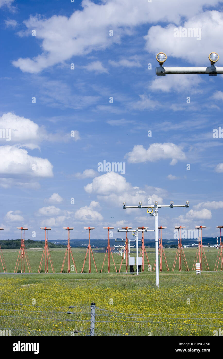 Germany Baden-Württemberg Lake Constance-district Friedrichshafen airport Baden-württemberg beaconing illumination Stock Photo