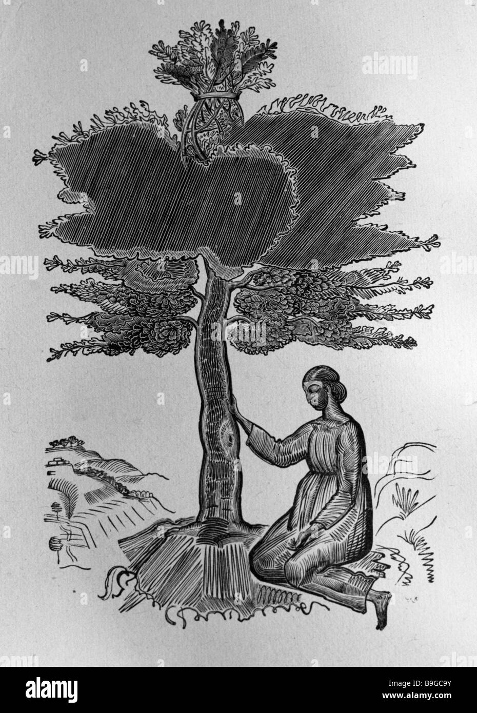 A reproduction of Ruth under a Tree a frontispiece to the book Ruth by Vladimir Favorsky from the collection of - Stock Image