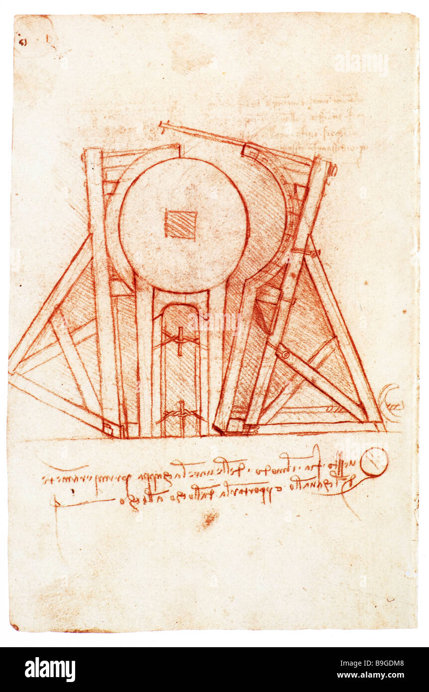 Study of the wooden framework with casting mold for the Sforza Horse 1491- 1493 by Leonardo da Vinci - Stock Image