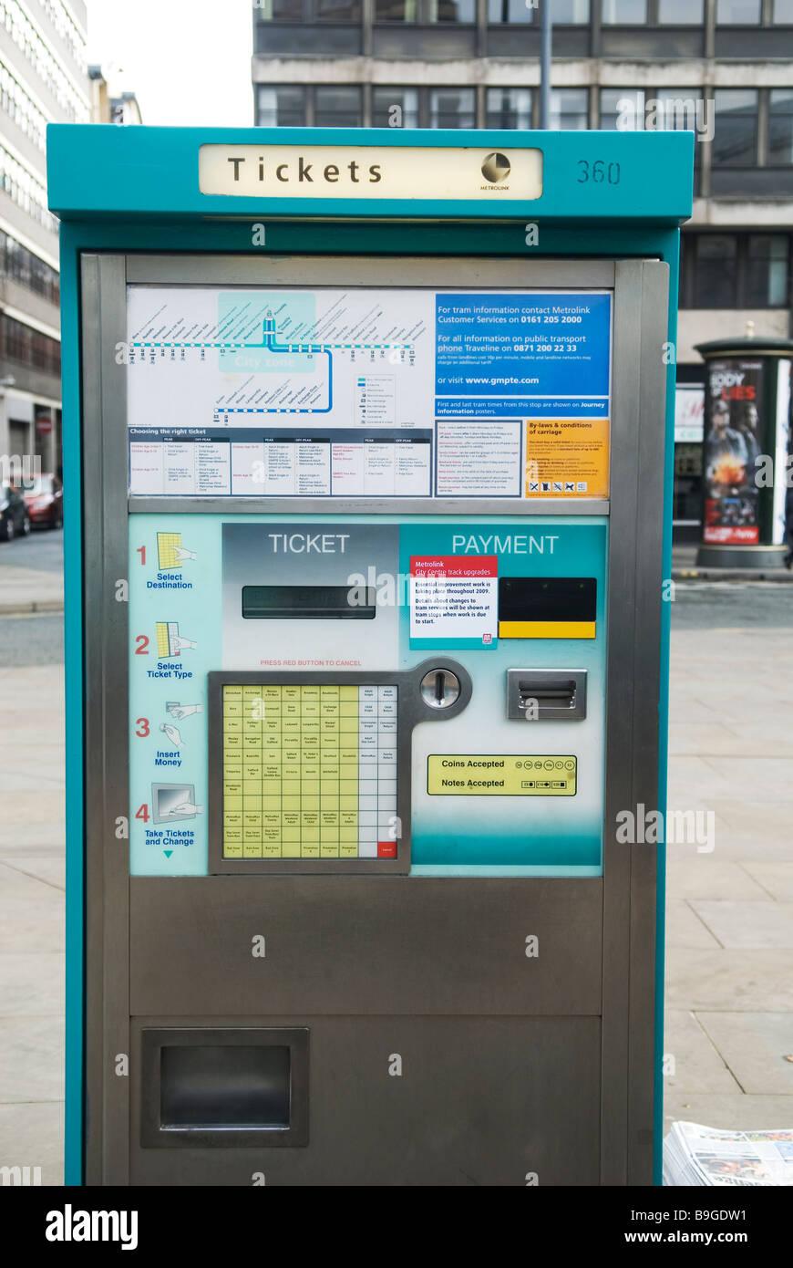 Metrolink tram ticket vending machine Manchester city centre UK - Stock Image