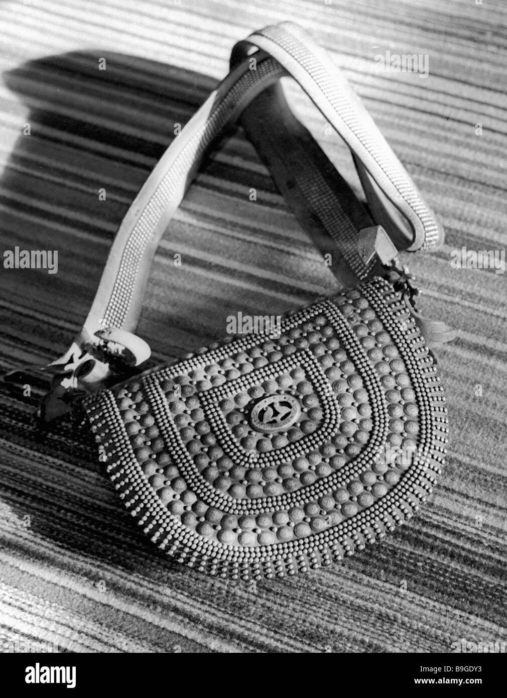 Tobivka metal cased leather bag The Sahaidachnys Museum Kosovo - Stock Image