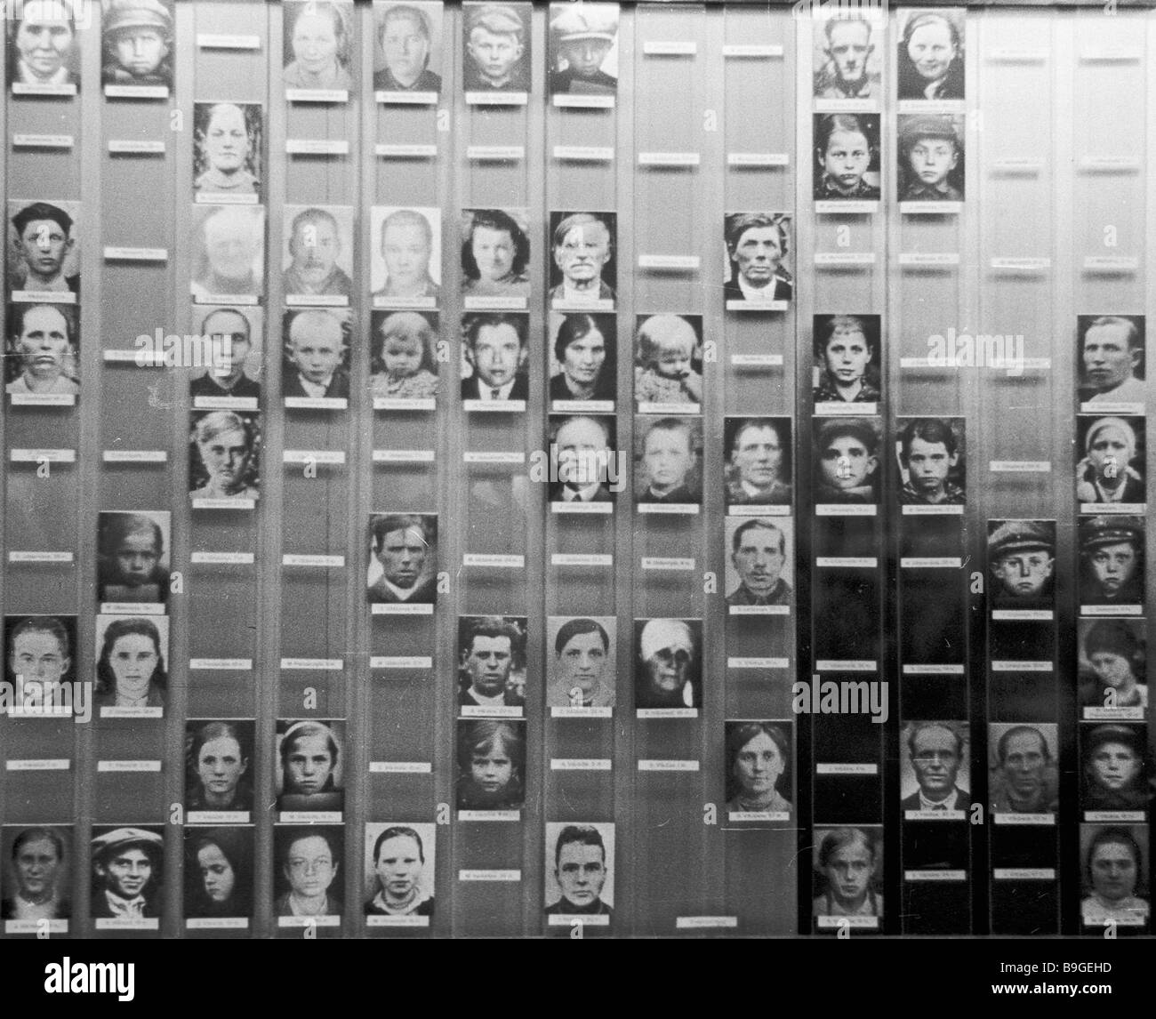 Photos of village residents who were killed by the Nazis during the 1941 1945 Great Patriotic War at Lithuanian - Stock Image