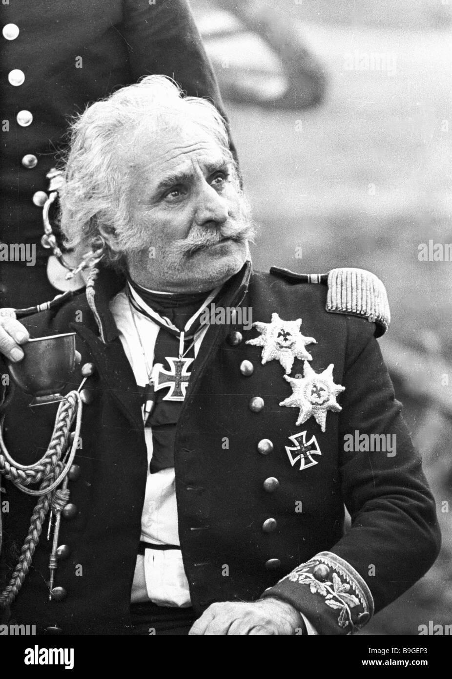 People Artist of the USSR Sergo Zakariadze as Marshall Gebhard Blucher in the film Waterloo - Stock Image