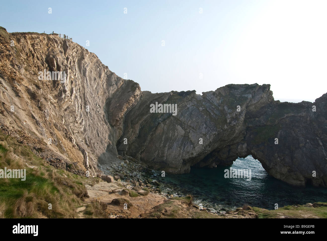 Stair hole at Lulworth Cove part of the Jurassic Coast. The most remarkable feature of Stair Hole is seen in the - Stock Image