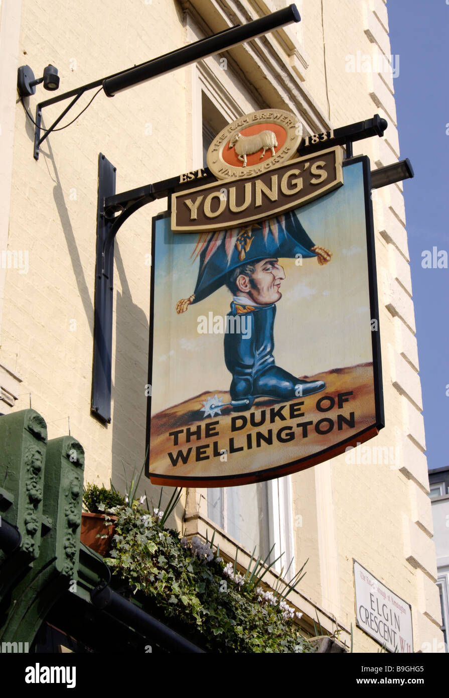 The Duke of Wellington Pub sign Portobello Road London - Stock Image