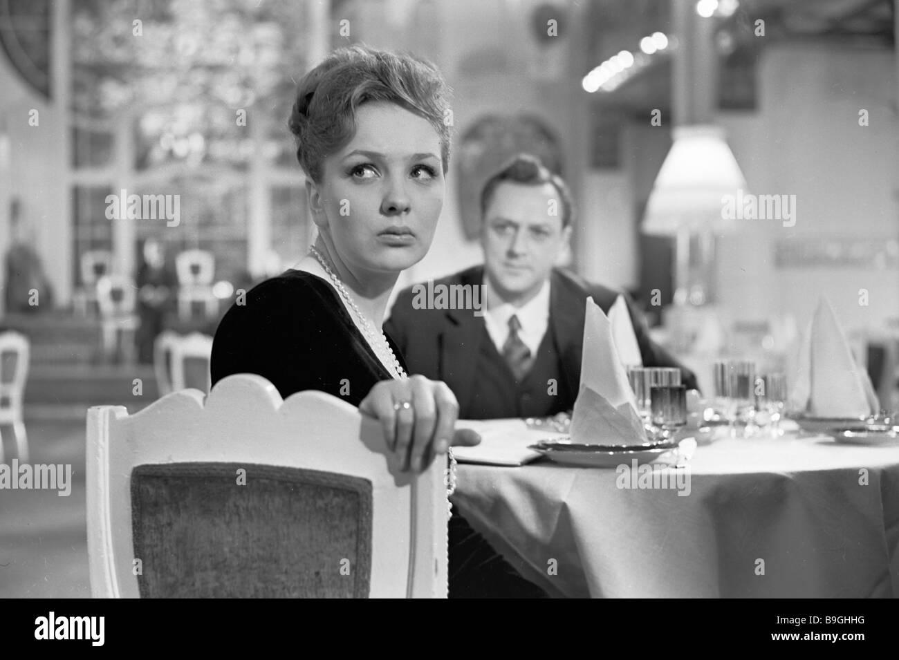 Natalya Tenyakov a as Tonya left and Vladislav Strzhelchik right in Ilya Gurin s film Our Acquaintances adapted - Stock Image