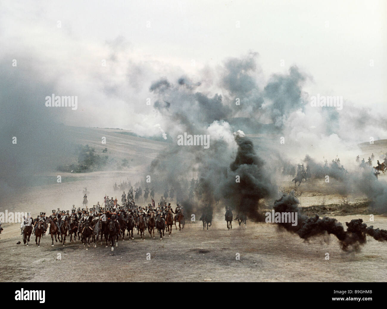 A battle scene from the film Waterloo Sergei Bondarchuk director - Stock Image