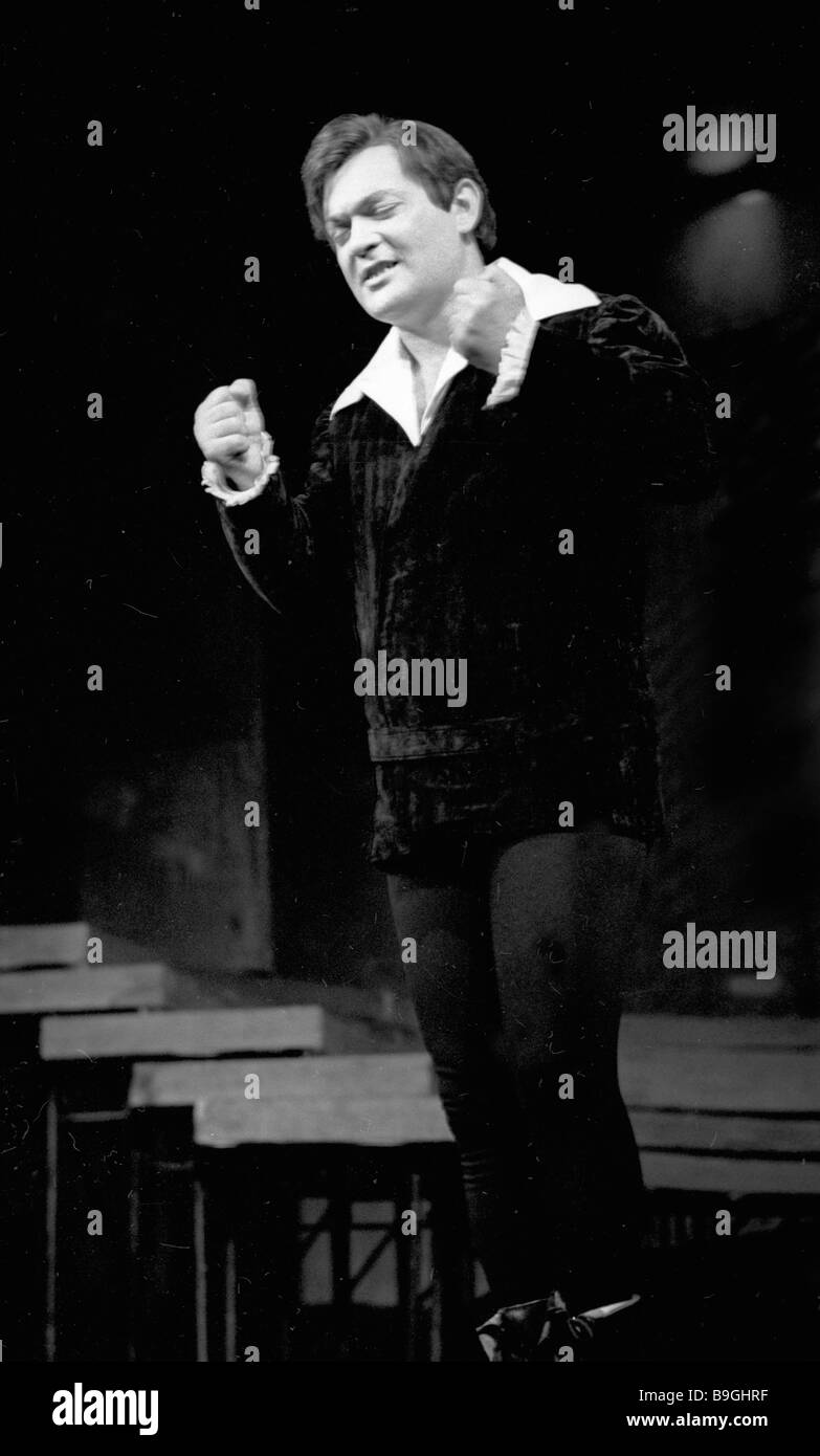 Azerbaijani actor Gasan Gurabov as Hamlet in the stage production of William Shakespeare s tragedy Hamlet by the - Stock Image