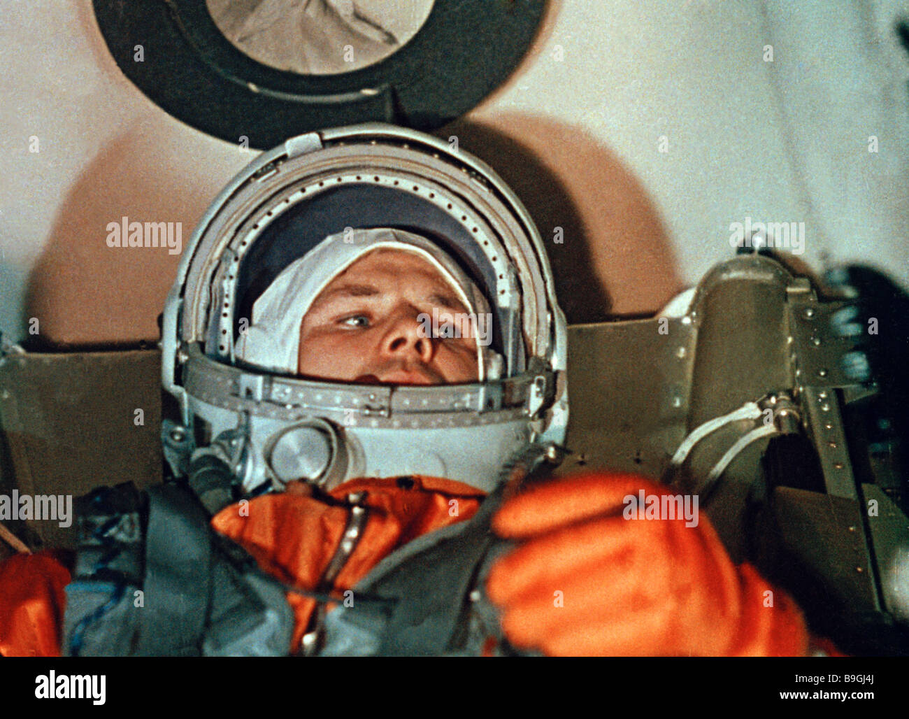 Cosmonaut Yuri Gagarin aboard Vostok 1 spacecraft from The Soviets in the Space documentary - Stock Image