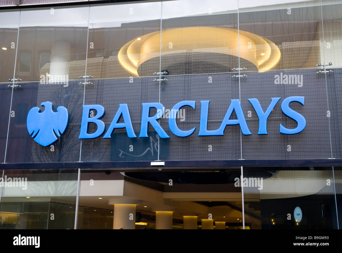 Barclays Bank sign on Market street Manchester city centre UK - Stock Image