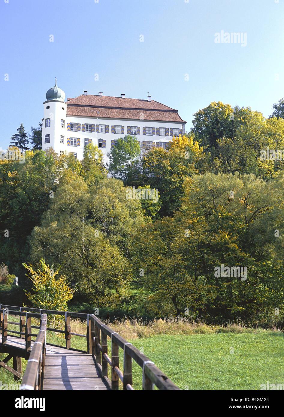Germany  Baden-Württemberg  Mühlheim on the Danube  palace Mühlheim forest meadow bridge autumn  - Stock Image