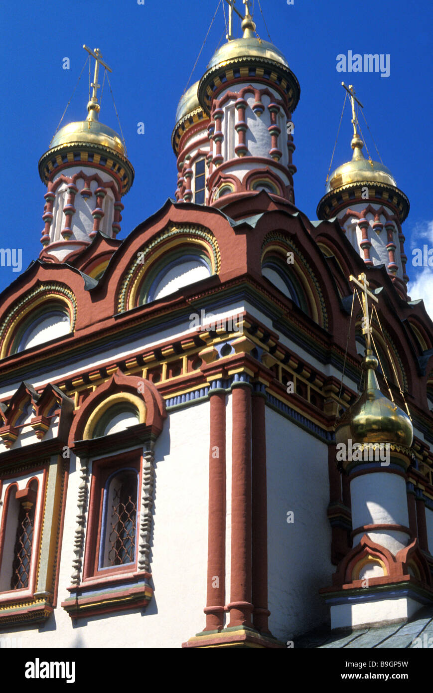 st nicholas church cupolas moscow russia - Stock Image