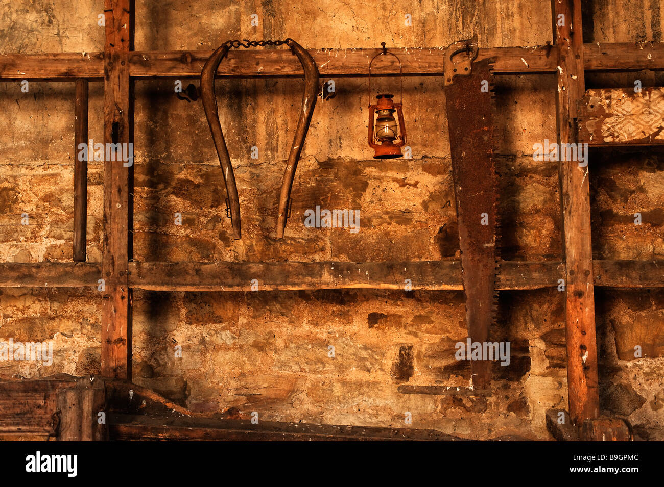 Old rusty tools hanging on stable wall - Stock Image
