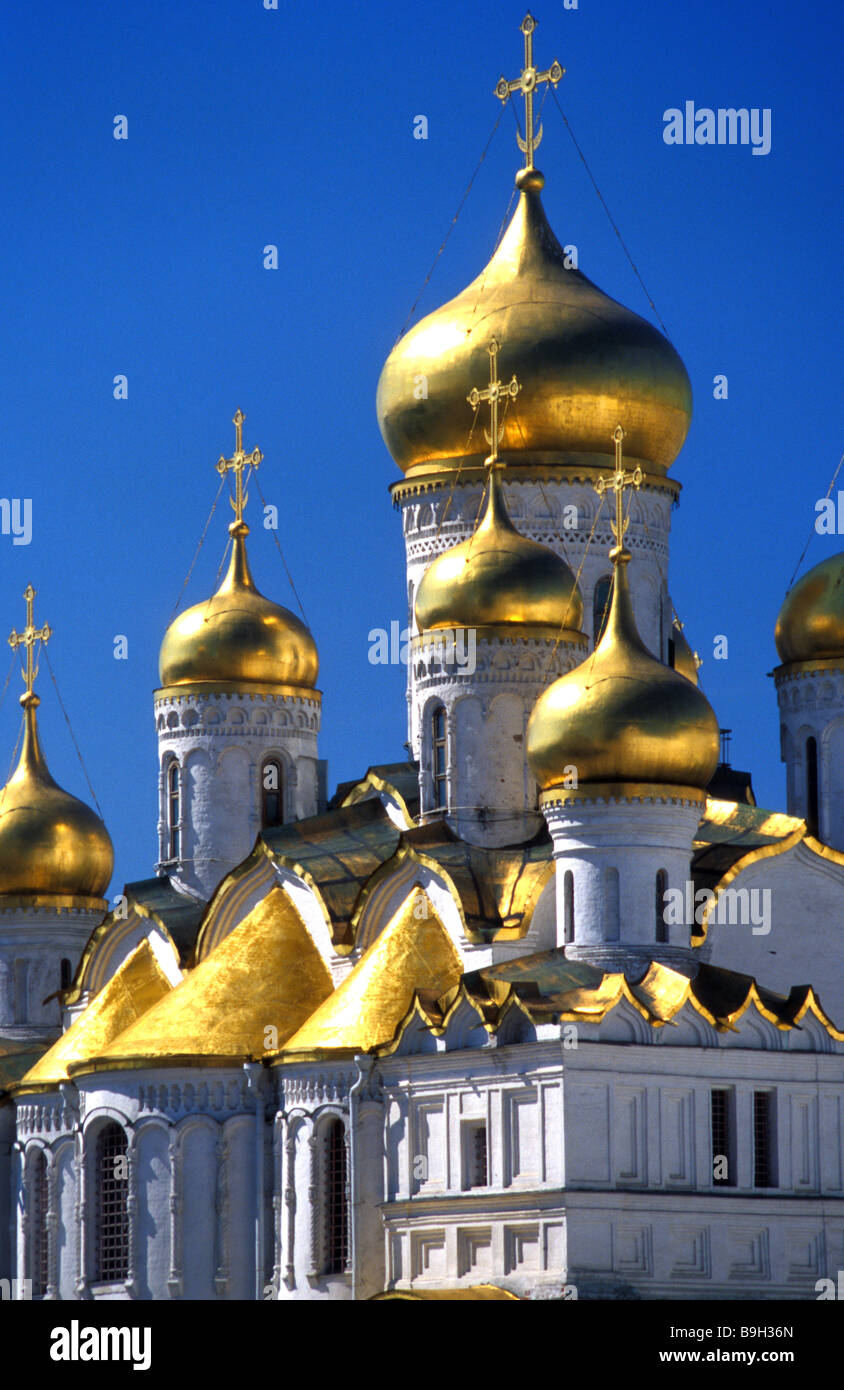 kremlin cathedral of the annunciation cupolas kremlin moscow russia - Stock Image
