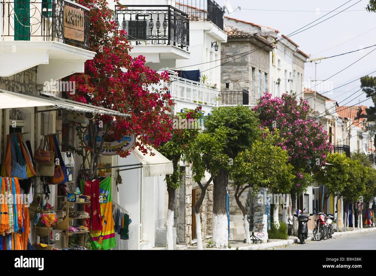 Greece island samos Pythagorion shopping streets Europe Mediterranean-island destination city streets buildings Stock Photo